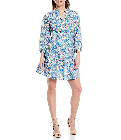 Sugarlips Floral Print Frill Stand Collar Split-Neck Long Sleeve Tiered Dress