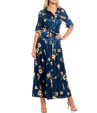 Sugarlips Floral Print Jacquard Satin Button Front Roll-Tab Sleeve Sash Belted Maxi Dress