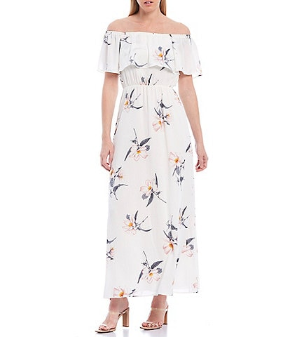 Sugarlips Floral Print Ruffle Off-the-Shoulder Maxi Dress