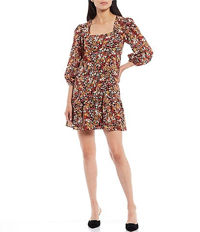 Sugarlips Floral Print Square Neck 3/4 Puff Sleeve Ruffle Hem Shift Dress
