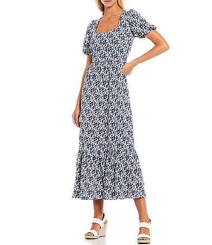 Sugarlips Floral Print Sweetheart Neck Puff Sleeve Maxi Dress