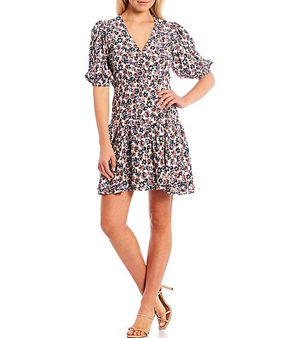 Sugarlips Floral Print V-Neck Ruffle Hem Short Puff Sleeve Dress
