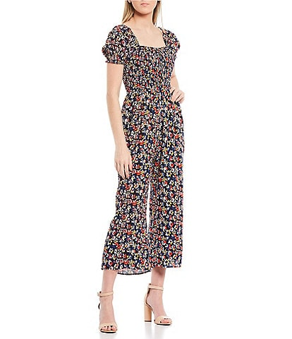 Sugarlips Floral Square Neck Smocked Wide Leg Cropped Jumpsuit