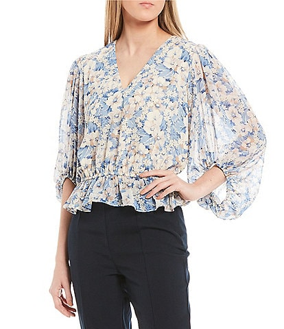 Sugarlips Floral V-Neck Balloon Sleeve Top