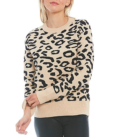 Sugarlips Mila Leopard Ribbed Crew Neck Long Sleeve Statement Sweater