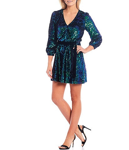 Sugarlips Multicolor Sequin V-Neck 3/4 Sleeve Tie-Waist Mini Dress