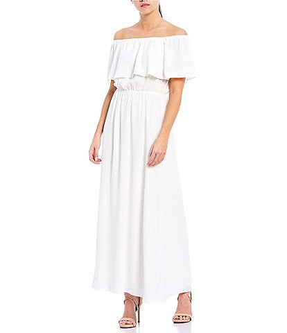 Sugarlips Off-the-Shoulder Flounce Maxi Dress