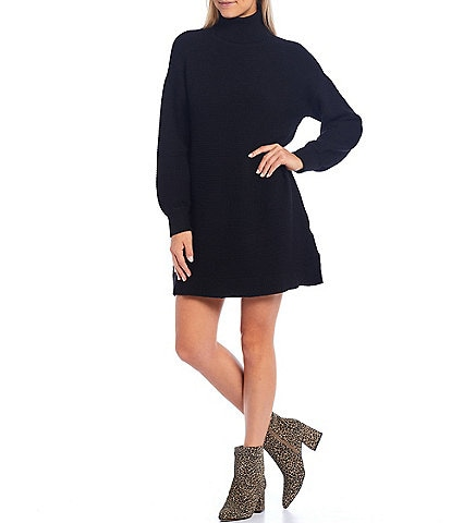 Sugarlips Oversized Turtleneck Long Puff Sleeve Sweater Dress