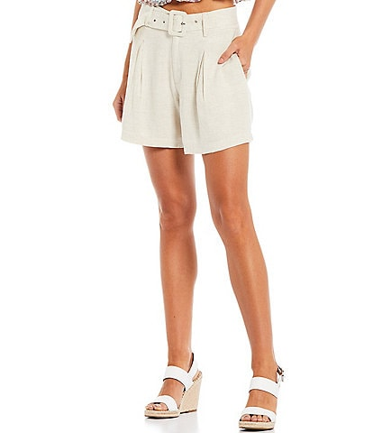 Sugarlips Pleat Front High Waist Buckle Belted Shorts