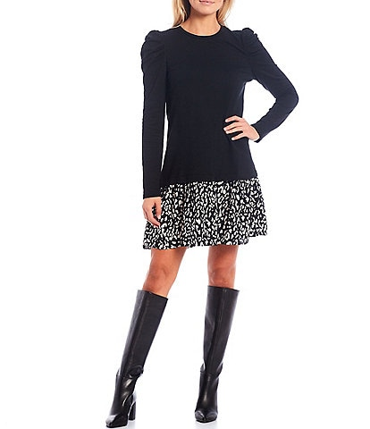 Sugarlips Puff Sleeve Mix Media Leopard Contrast Knit Shift Dress