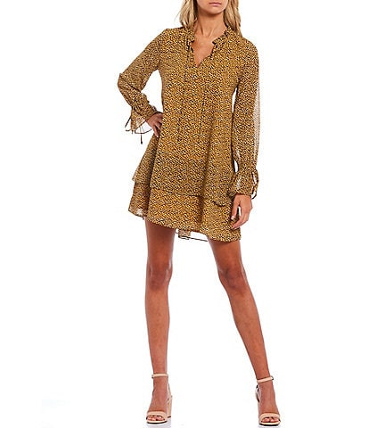 Sugarlips Rosa Leopard Print Long Sleeve Tiered Shift Dress