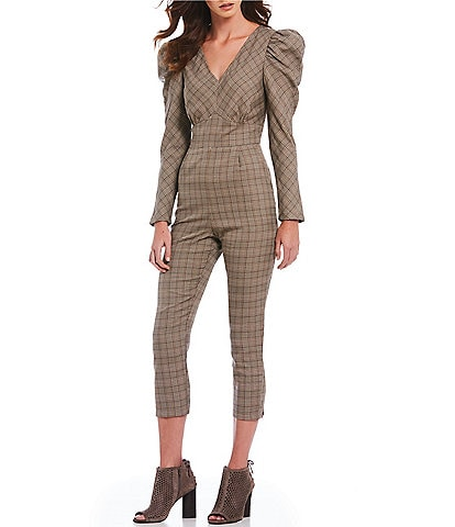 Sugarlips Menswear Plaid Puffed Statement Shoulder V-Neck Cropped Jumpsuit