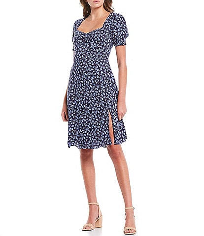 Sugarlips Short Puff Sleeve Floral Sweetheart Neck Dress