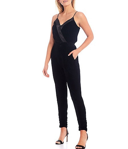 Sugarlips Sleeveless V-Neck Satin Trimmed Tapered Ruched Leg Velvet Jumpsuit