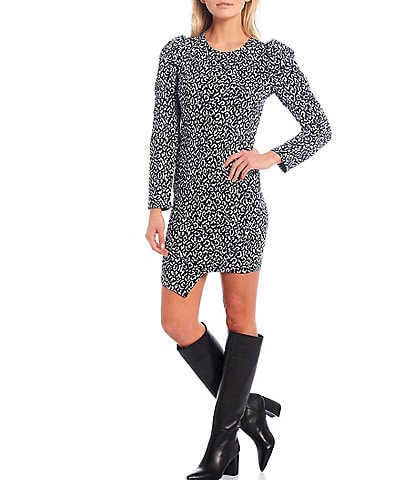 Sugarlips Tabitha Leopard Print Knit Puff Sleeve Bodycon Dress