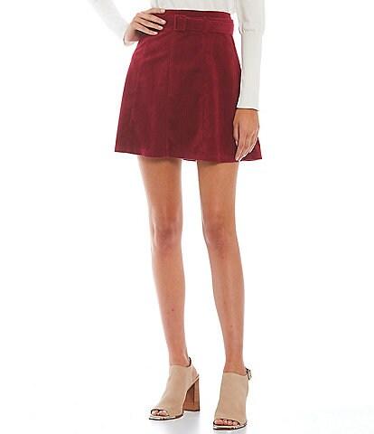 Sugarlips Targan Corduroy High Waisted Buckle Belted Skirt