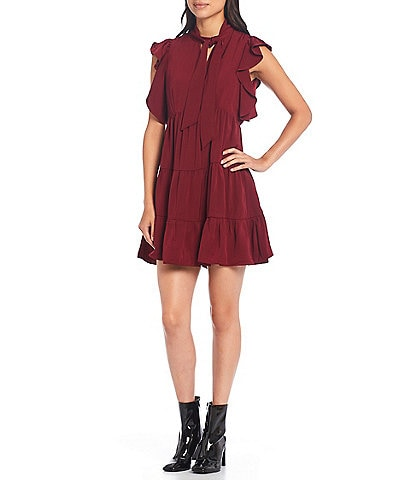 Sugarlips Tie Neck Cap Sleeve Ruffle Detail Tiered Mini Dress