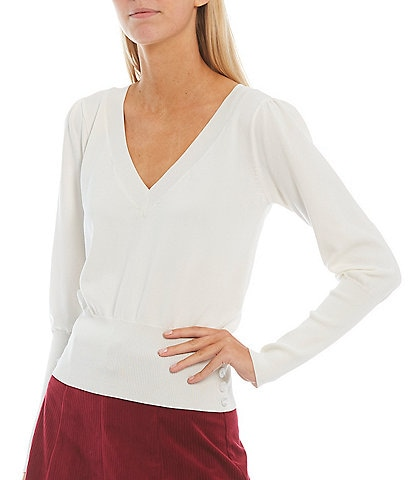 Sugarlips V-Neck Long Balloon Sleeve Lightweight Fitted Sweater Top