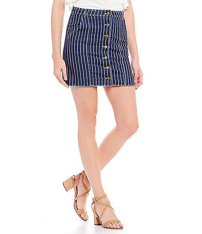 Sugarlips Vella Stripe Button Front Denim Mini Skirt