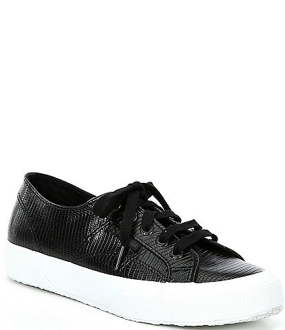 Superga 2750 Faux Leather Lizard Embossed Lace-Up Sneakers