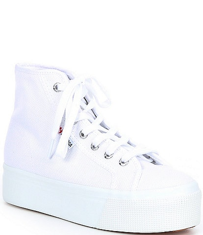 Superga Women's 2705 Canvas High Top Flatform Lace-Up Sneakers