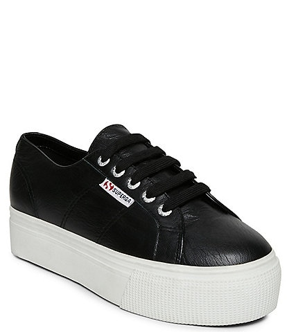 Superga Women's 2790 Nappa Leather Lace-Up Platform Sneakers