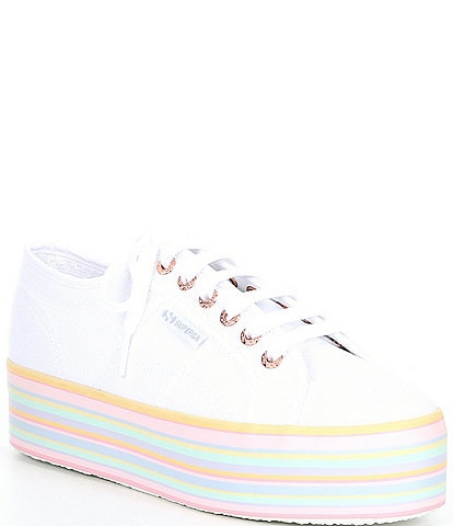 Superga Women's 2790 Rainbow Striped Platform Lace-Up Sneakers