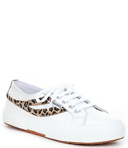 Superga Women's 2953 Nappa Leather Leopard Suede Lace-Up Sneakers