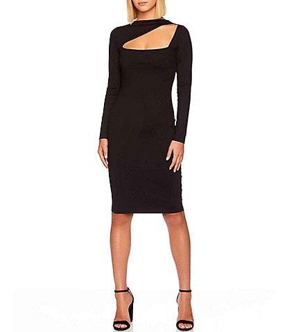 Susana Monaco Angle Cut Out Square Neck Long Sleeve Bodycon Dress