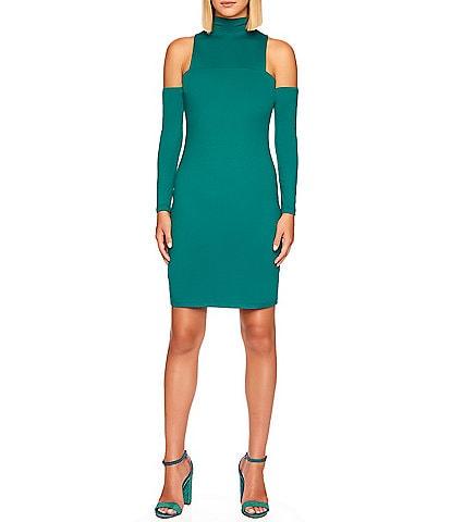 Susana Monaco Mock Neck Open Shoulder Long Sleeve Bodycon Dress