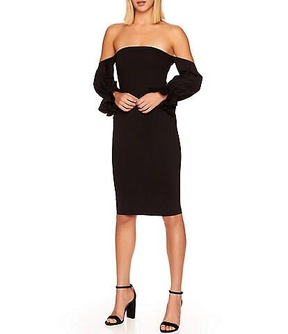 Susana Monaco Peasant Off-the-Shoulder Long Sleeve Dress