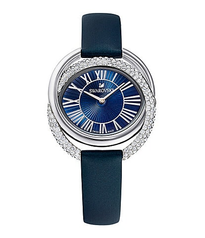 Swarovski Blue Duo Quartz Analog Leather Swiss Watch