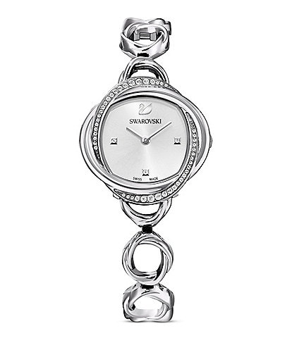Swarovski Crystal Flower Silver Tone Bracelet Watch