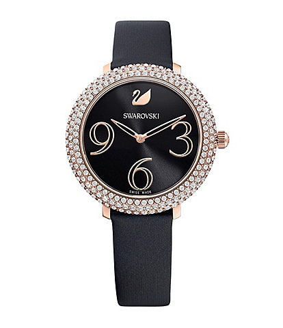 Swarovski Crystal Frost Black Silk Quartz Analog Swiss Watch