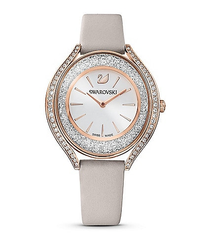 Swarovski Crystalline Aura Grey Leather Watch