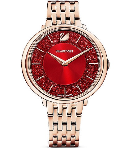 Swarovski Crystalline Chic Rose Gold With Red Dial Bracelet Watch