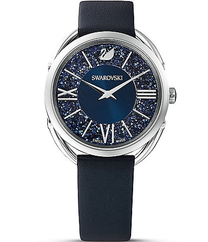 Swarovski Crystalline Glam Blue Leather Watch