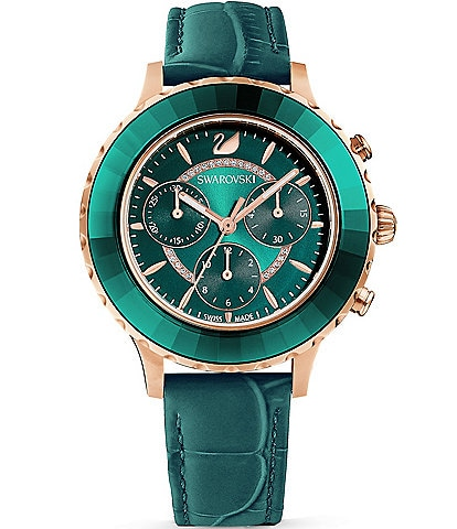 Swarovski Octea Lux Chrono Green Leather Watch