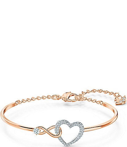 Swarovski Two Tone Infinity Heart Bangle