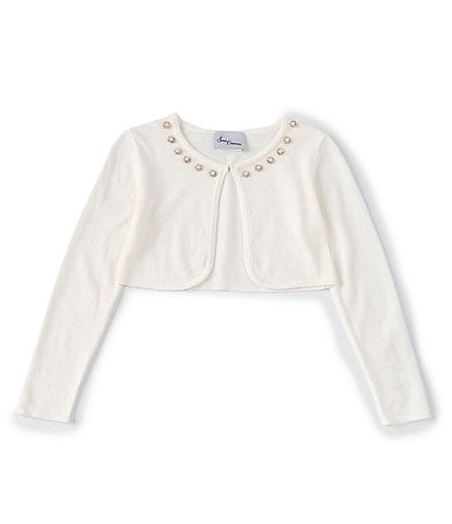 Sweet Charmers Big Girls 7-16 Faux-Pearl-Trimmed Cardigan