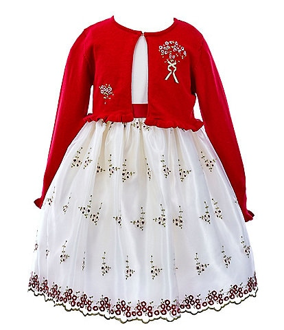 Sweet Charmers Little Girls 2T-6X Cardigan & Embroidered A-Line Dress Set