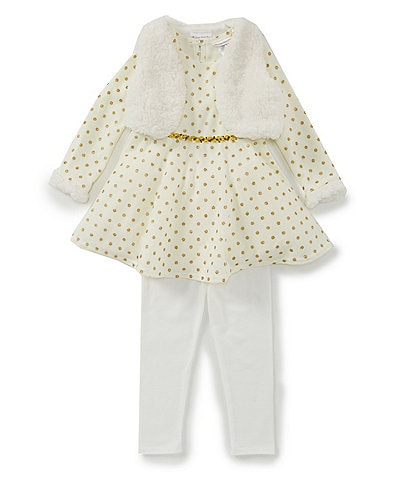Sweet Heart Rose Little Girls 2T-6X Sherpa Vest, Dotted Fit-And-Flare Dress, & Solid Leggings Set