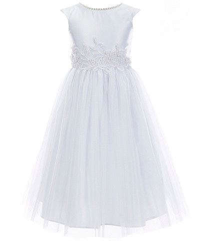 Sweet Kids Big Girls 7-16 Faux-Pearl Satin/Tulle Fit-And-Flare Dress