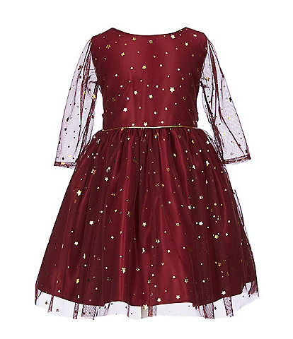Sweet Kids Little Girls 2-6 Star-Printed Mesh Fit-And-Flare Dress