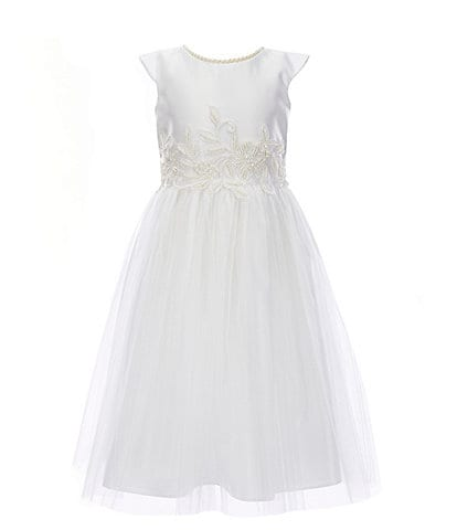 Sweet Kids Little Girls 2-6 Faux-Pearl Satin/Tulle Fit-And-Flare Dress