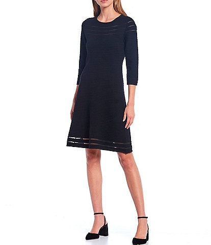 T Tahari 3/4 Sleeve Crew Neck Fit & Flare Ottoman Rib Dress