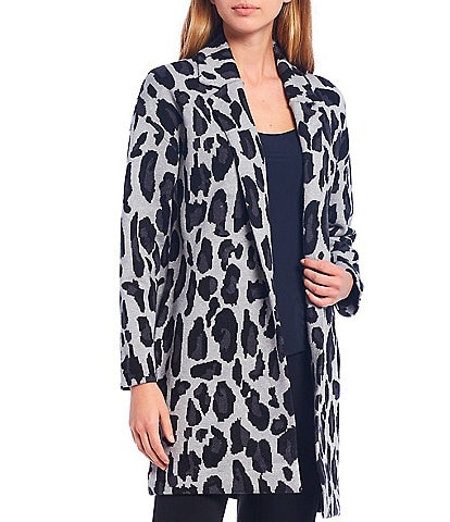 T Tahari Animal Print Jacquard Long Sleeve Notch Collar Open Front Coatigan