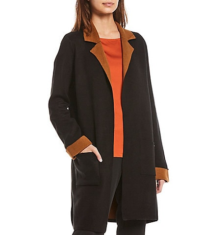 T Tahari Long Sleeve Double Knit Colorblock Open Front Cardigan