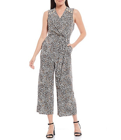 T Tahari Sleeveless Animal Printed Tie Waist Cropped Jumpsuit