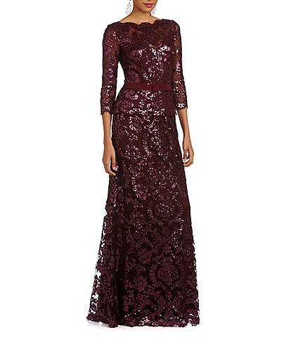 Tadashi Shoji 3/4 Sleeve Sequin Embroidered Boat Neck Gown